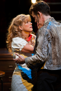 Imogen Stubbs as Lady Torrance and Luke Norris as Val Xavier. Photo by Jonathan Keenan.