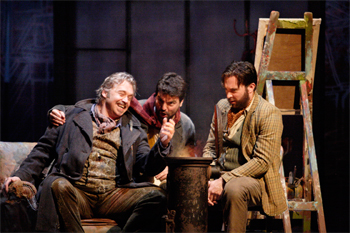 Marcello (David Kempster), Rodolfo (Alex Vicens) and Colline (David Soar). Photo by Catherine Ashmore