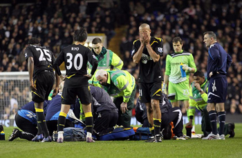 Fabrice Muamba being treated after cardiac arrest